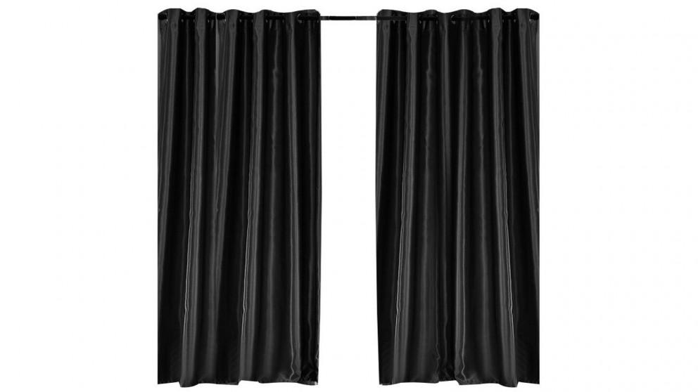 2-Panel 180x213cm Bedroom Eyelet Blockout Curtain - Black