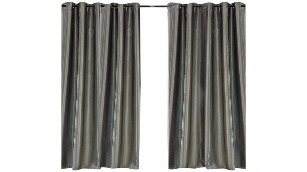 2-Panel 180x213cm Bedroom Eyelet Blockout Curtain - Grey