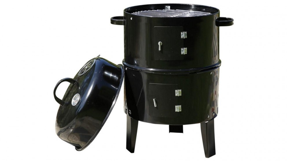 3in1 Charcoal BBQ Grill Smoker Portable Outdoor Barbecue