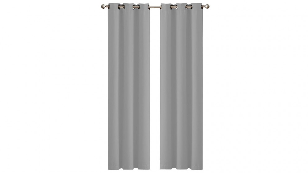 2-Panel 132x213cm Blockout Curtain - Grey