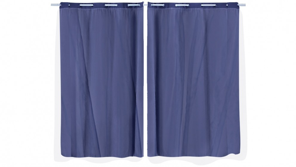DreamZ Set of 2 140x230cm 3 Layers Blockout Curtains with Gauze Room Darkening - Navy