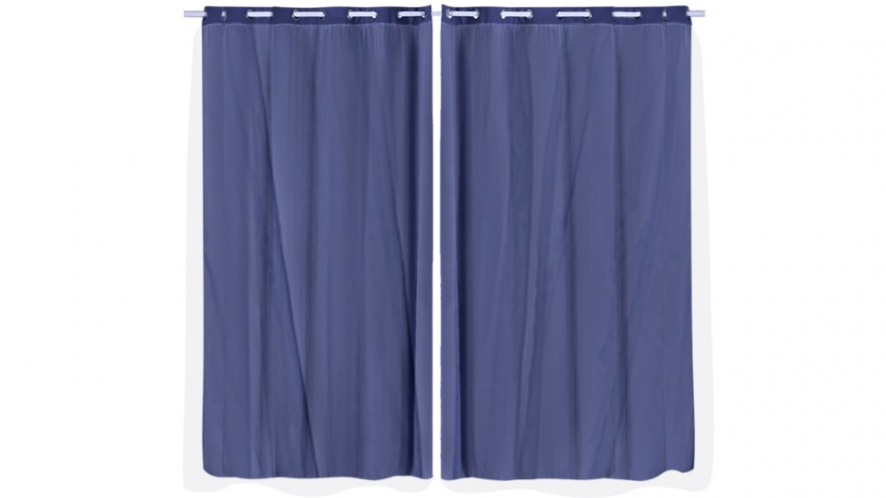 DreamZ Set of 2 180x230cm 3 Layers Blockout Curtains with Gauze Room Darkening - Navy