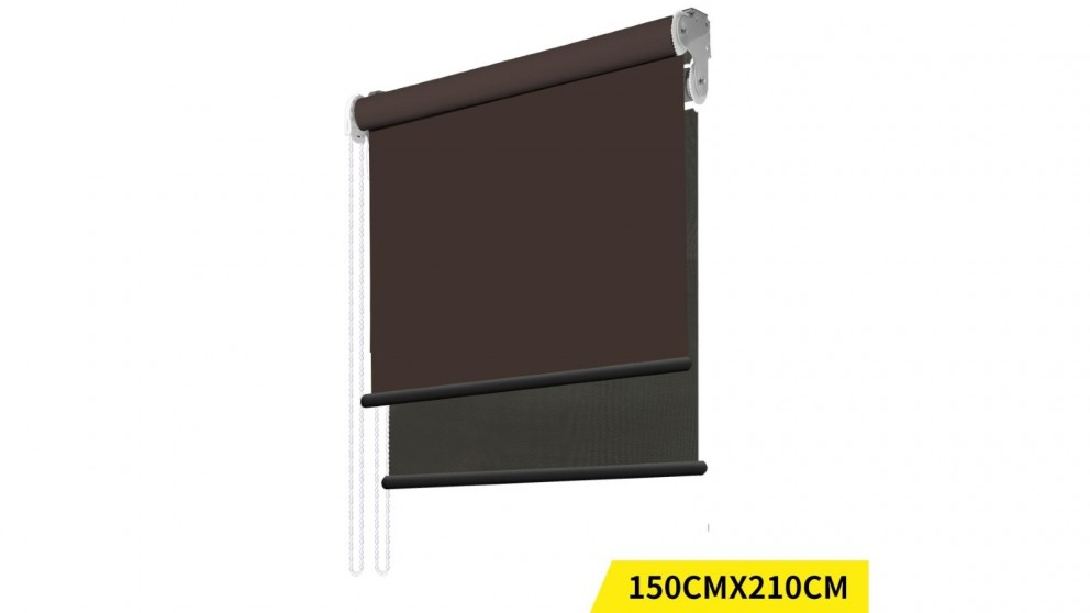 Double Roller Blinds 150x210cm - Coffee/Black