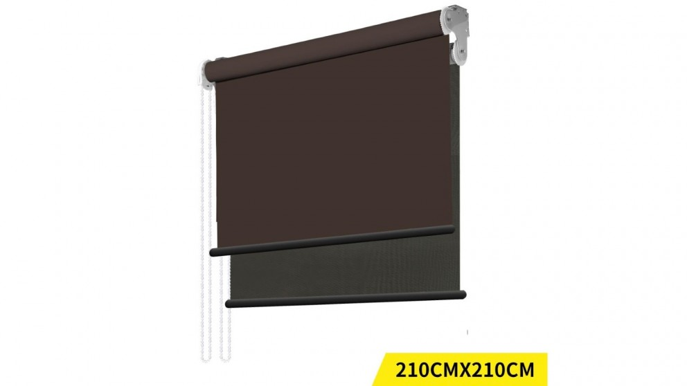 Double Roller Blinds 210x210cm - Coffee/Black