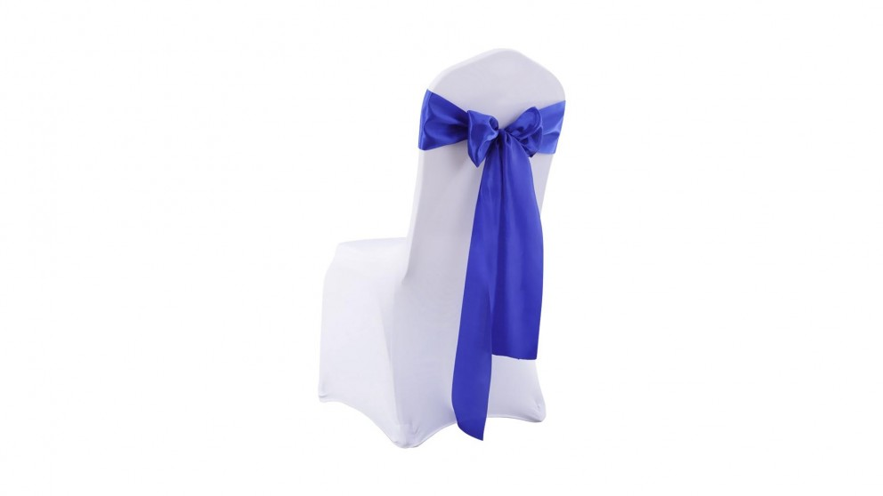20x Satin Chair Covers -Bow Only -Navy