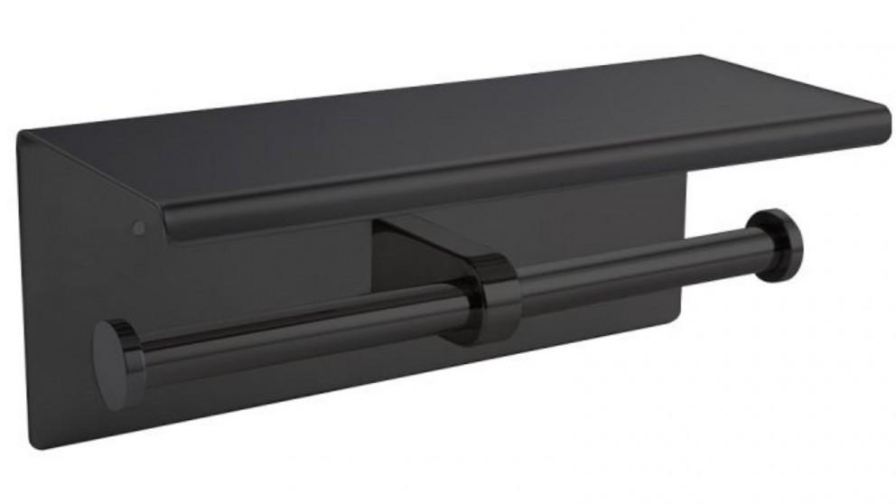 Steel Double Toilet Paper Roll Holder - Black