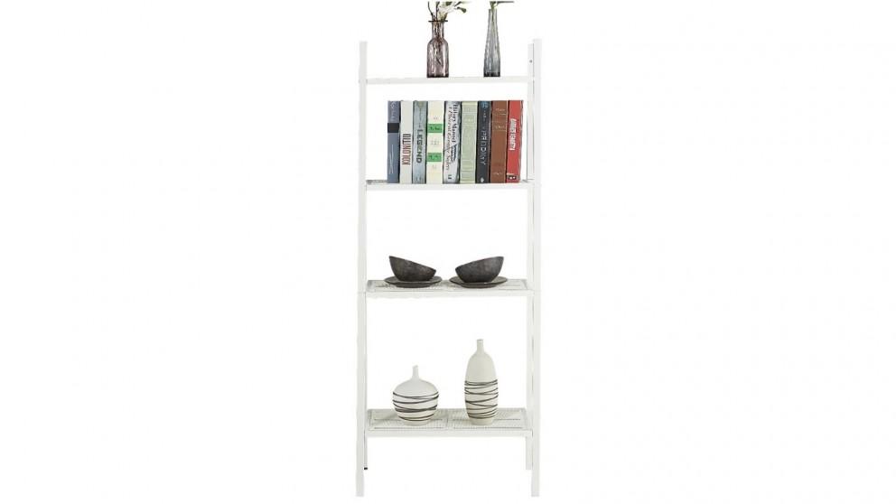 4 Tier Display Ladder Bookshelf Stand - White
