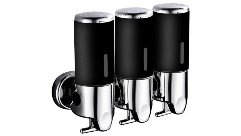 3 Bottle Wall Dispenser Pump 1500ml - Black