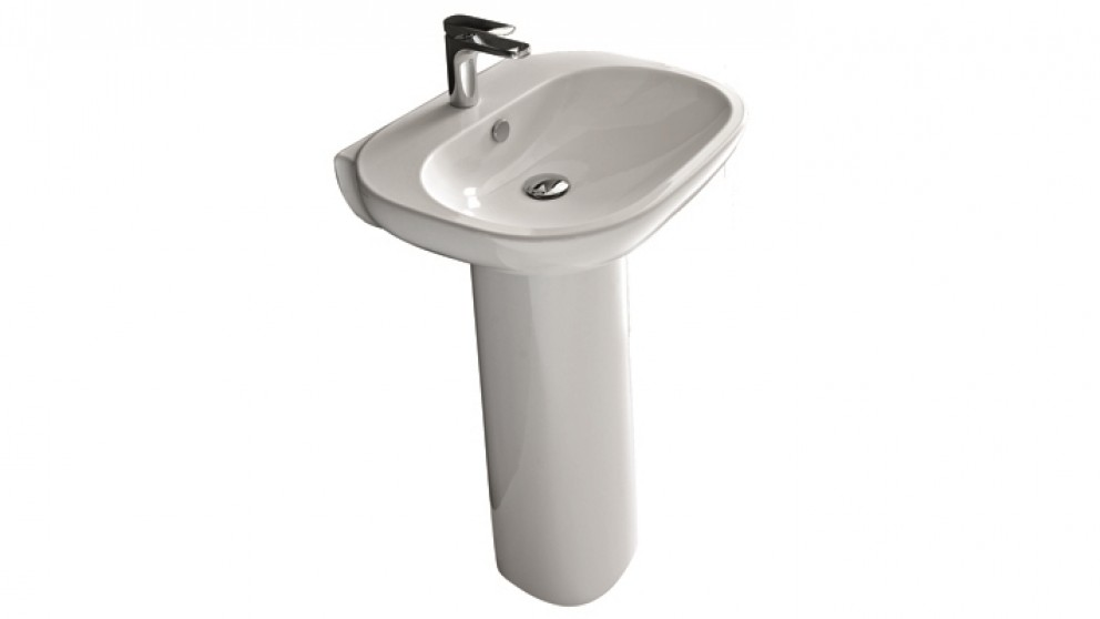 Parisi ABC 60cm Wash Basin And Pedestal with 1 Tap Hole