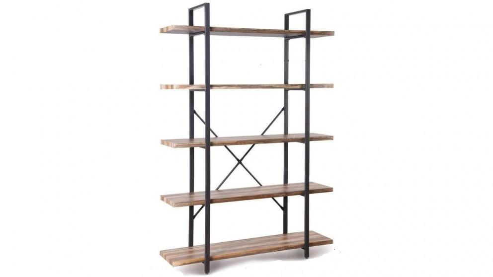 IHomdec 5 Tier Industrial Wood and Metal Bookshelves - Retro Brown