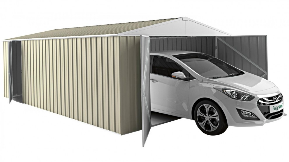 EasyShed 600cm Garage Shed - Smooth Cream