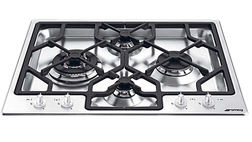 Smeg 600mm 4 Burner Gas Cooktop - Stainless Steel