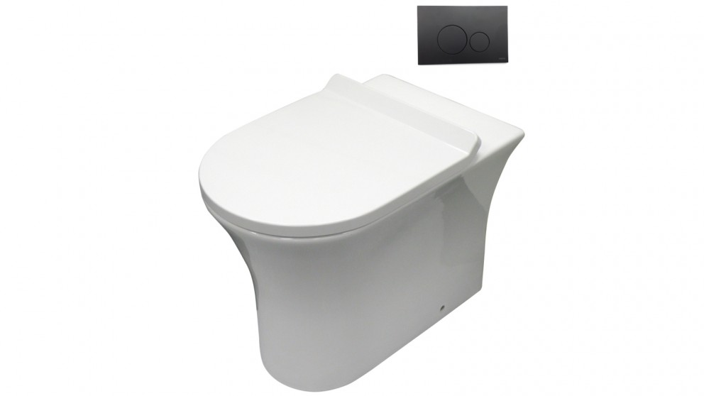 Parisi Play MK II Wall Faced Toilet Suite with Tondo Round Matte Black Flush Plate