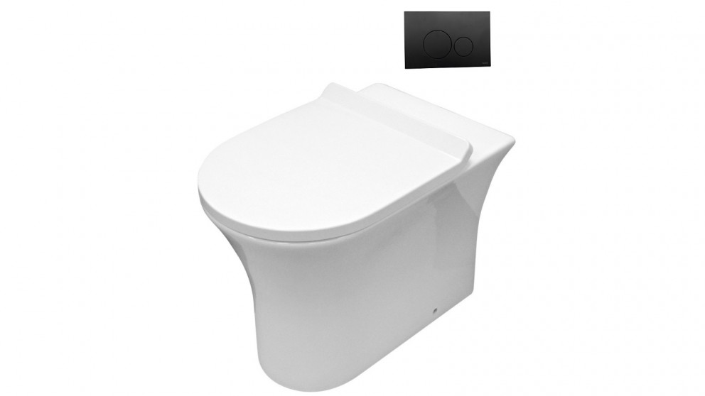 Parisi Play MK II Wall Hung Toilet Suite with Tondo Round Matte Black Flush Plate