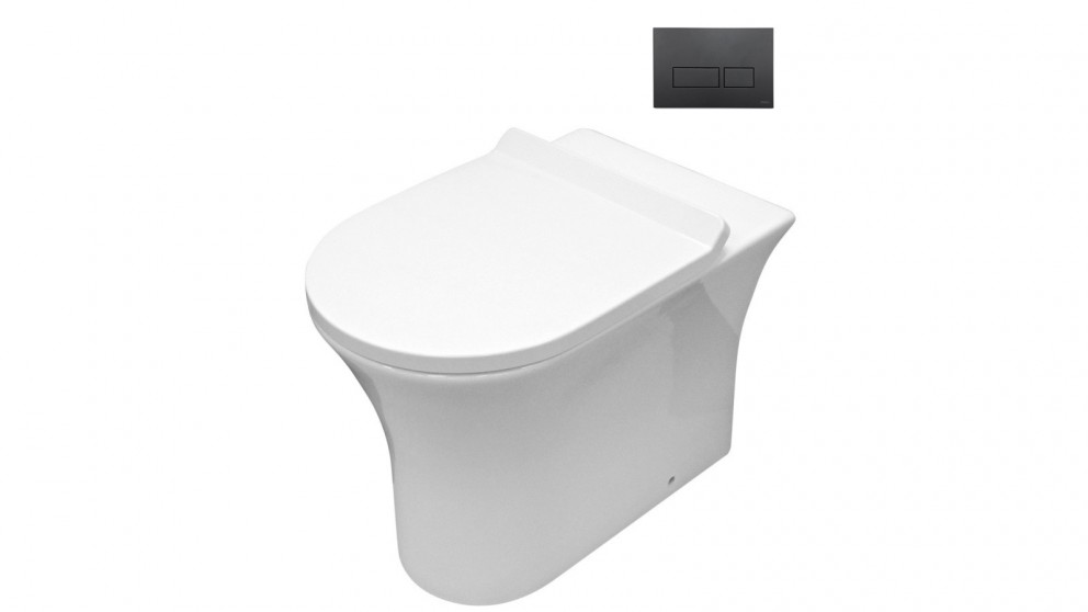 Parisi Play MK II Wall Hung Toilet Suite with Blade Rectangular Matte Black Flush Plate
