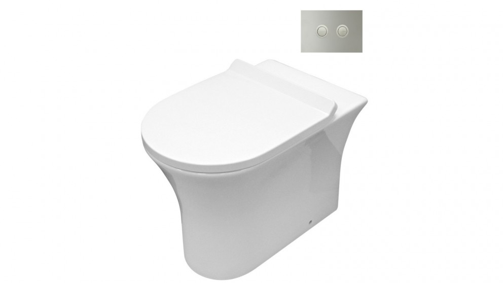 Parisi Play MK II Wall Hung Toilet Suite with Twin Button Set Chrome Metal Flush Plate