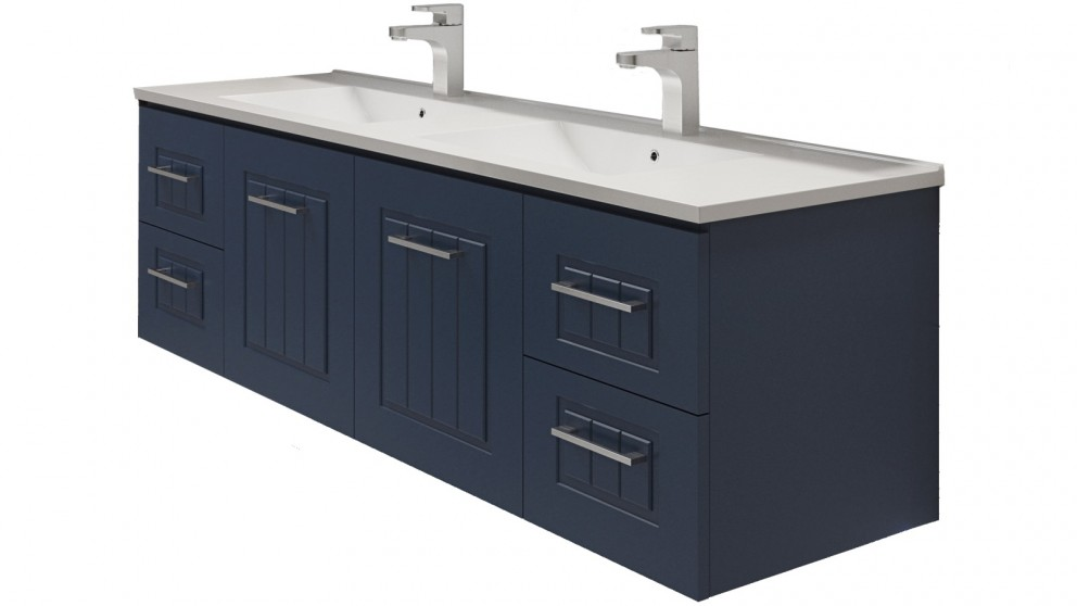 Timberline Austin Cambridge 1500mm Wall Hung Vanity with Alpha Double Bowl Ceramic Top