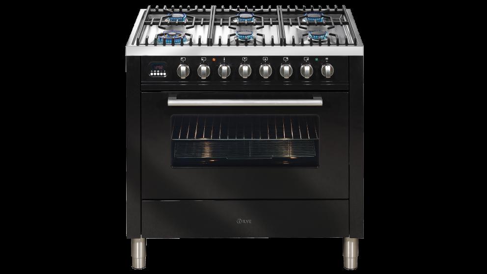 ILVE 900mm Dual-Fuel Freestanding Cooker - Gloss Black