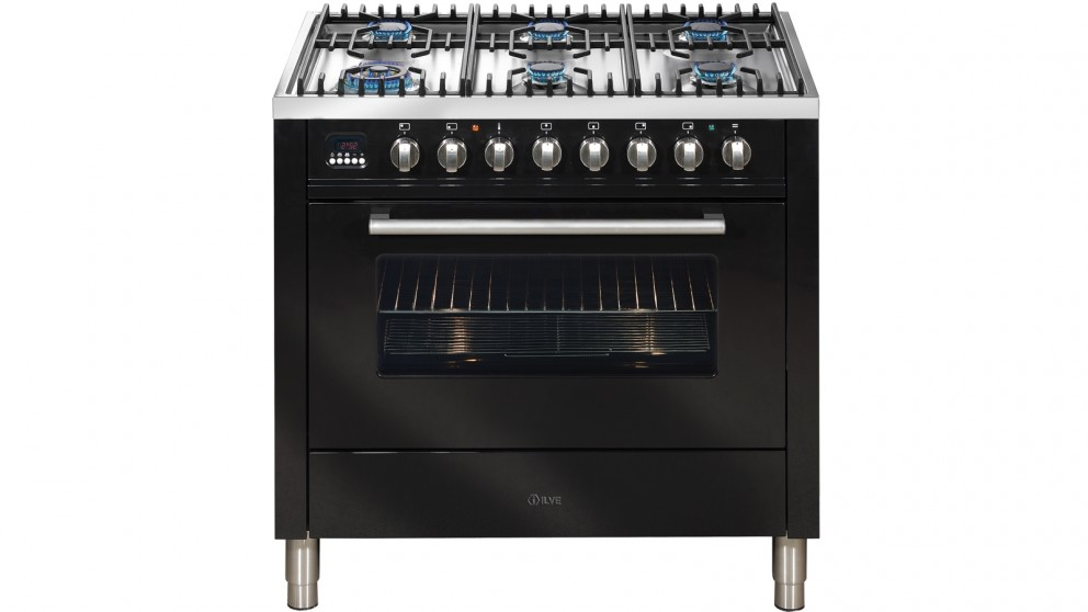 ILVE 900mm Dual-Fuel Freestanding Cooker - Gloss Black