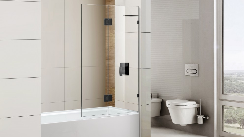 Cartia Jazz 900mm Fix and Swing with Nano Protection Glass Shower Screen - Matte Black