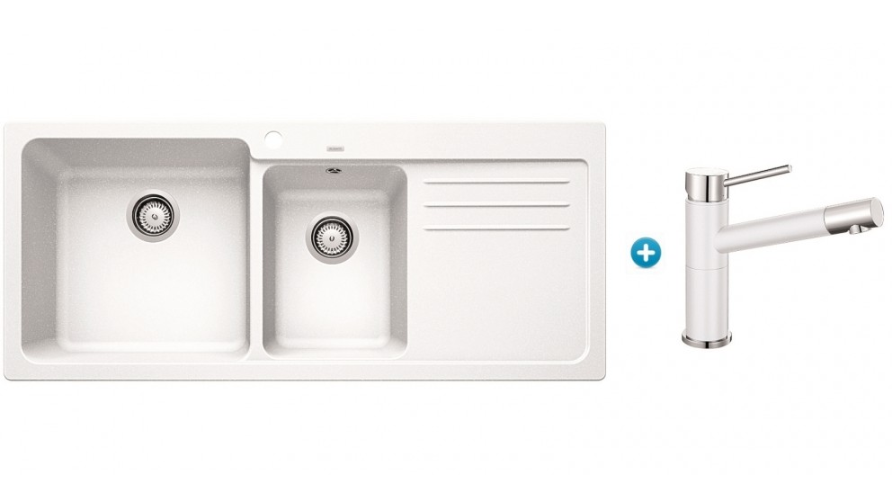 Blanco Silgranit 1 1/2 Bowl Inset Sink and Mixer Package - White