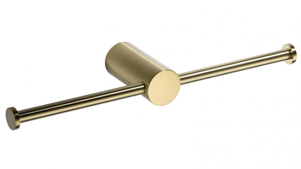PLD Oasis Double Toilet Roll Holder - Brushed Brass