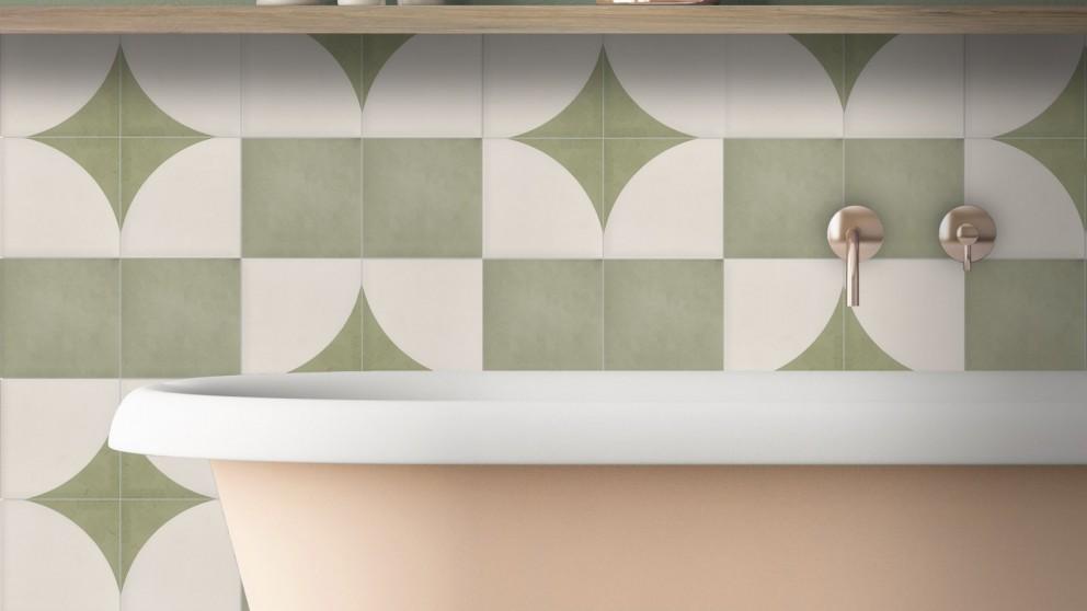 Aquarel 150x150mm Cream-Verde D.C Matte Tile