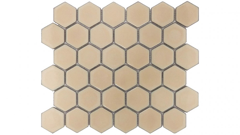 Glazed Hexagon 51x59mm Tile - Antique Beige