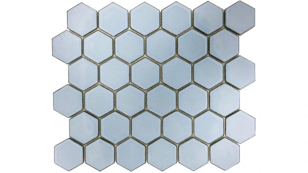 Glazed Hexagon 51x59mm Tile - Antique Blue