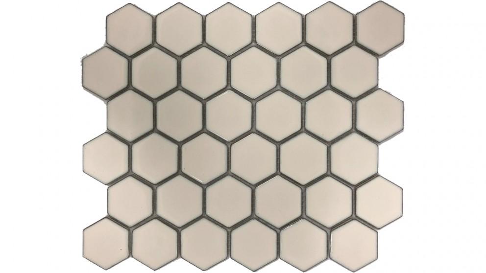 Glazed Hexagon 51x59mm Tile - Antique White