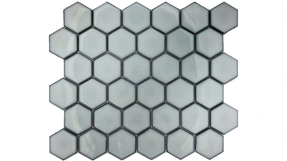 Glazed Hexagon 51x59mm Tile - Antique Grey
