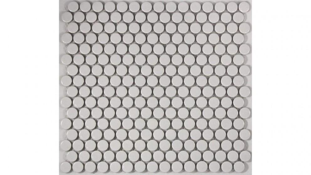 Glazed 19mm Penny Round Gloss Tile - White