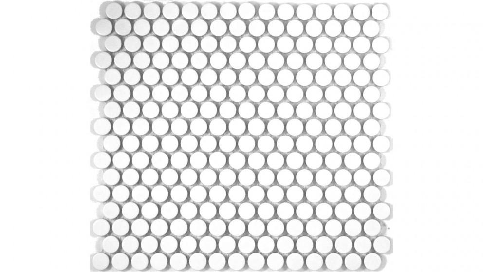 Glazed 19mm Penny Round Matte Tile - White
