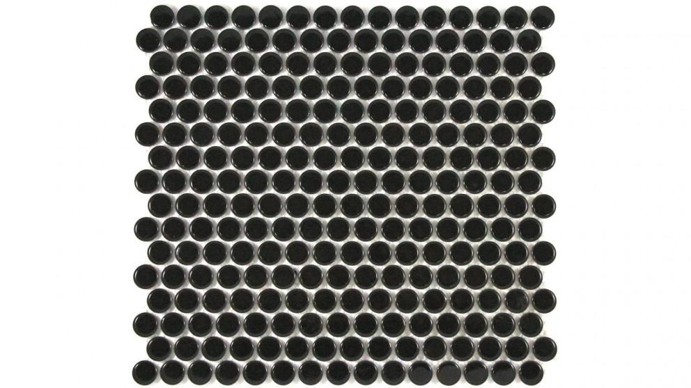 Glazed 19mm Penny Round Gloss Tile - Black