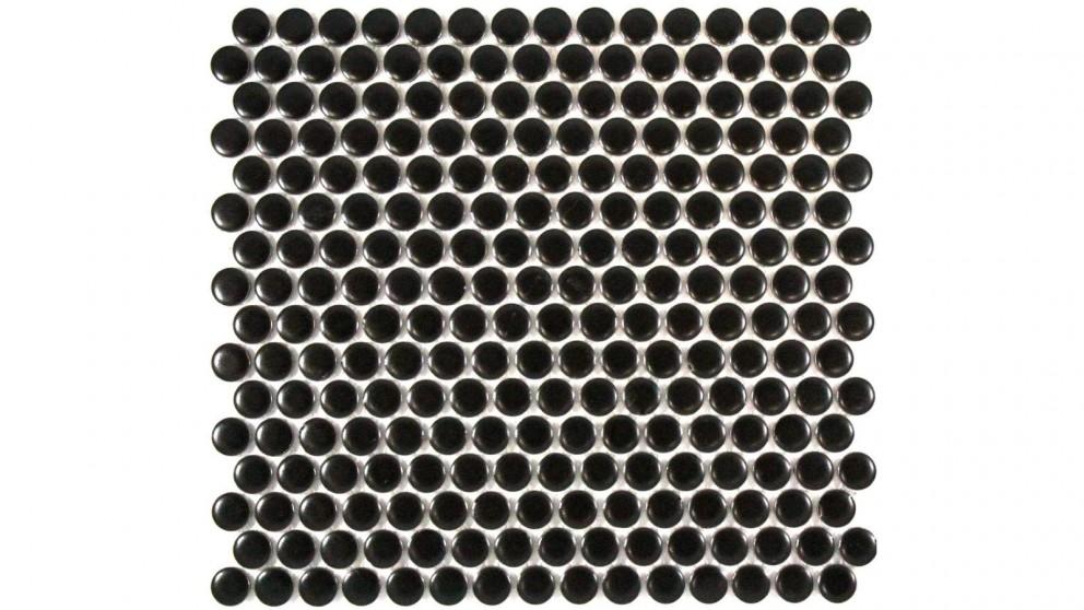 Glazed 19mm Penny Round Matte Tile - Black