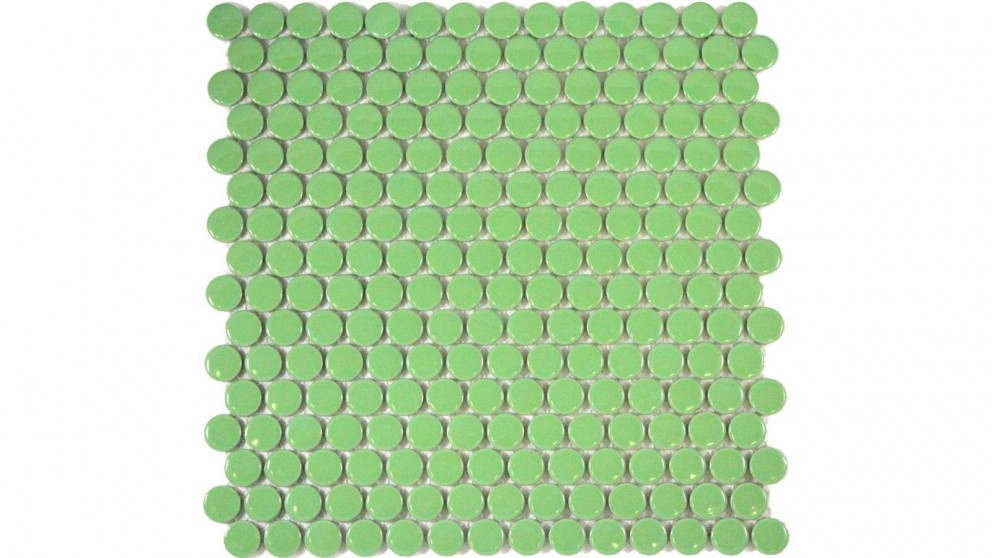 Glazed 19mm Penny Round Gloss Tile - Green