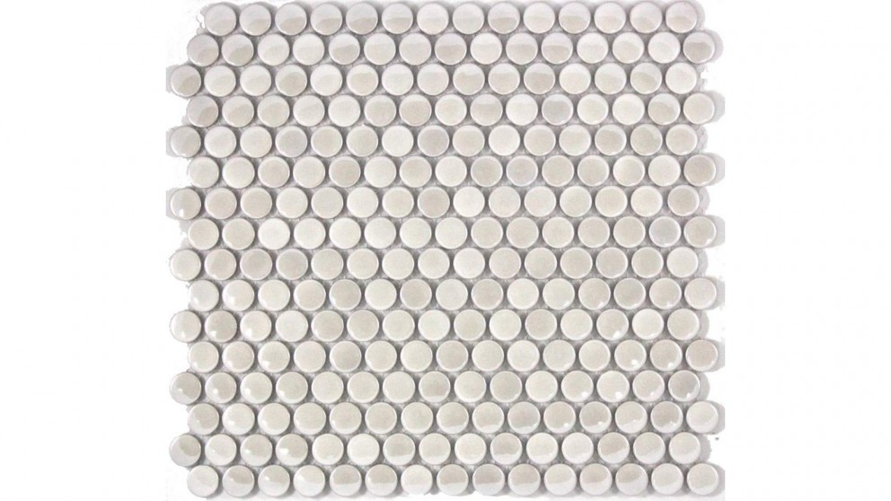 Glazed 19mm Penny Round Metallic Tile - Mother of Pearl