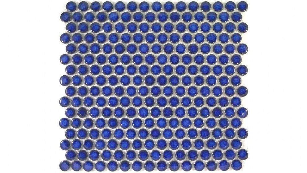 Glazed 19mm Penny Round Tile - Cobalt Blue