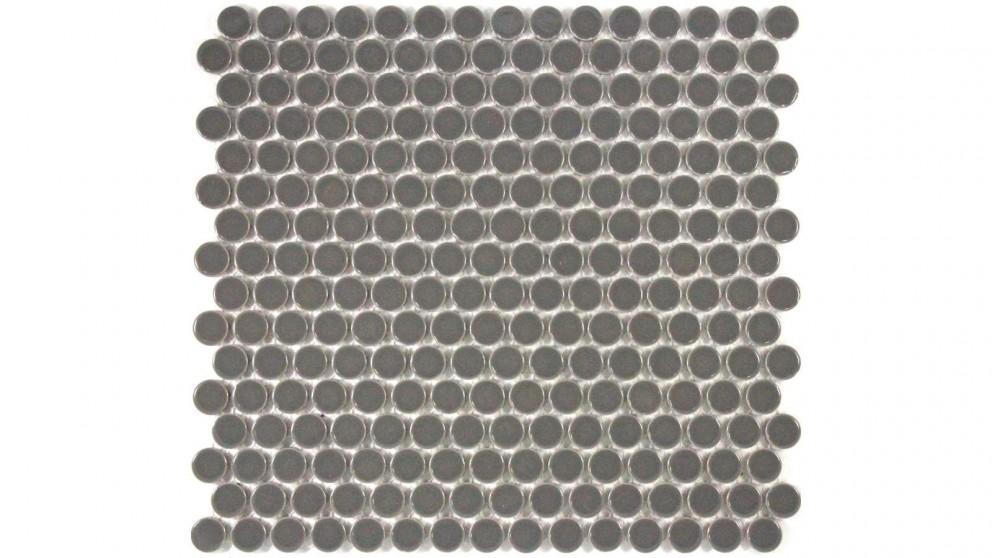 Glazed 19mm Penny Round Gloss Tile - Dark Grey