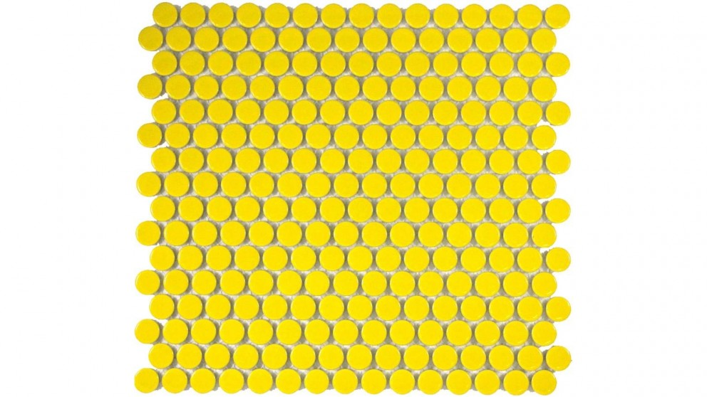 Glazed 19mm Penny Round Gloss Tile - Yellow