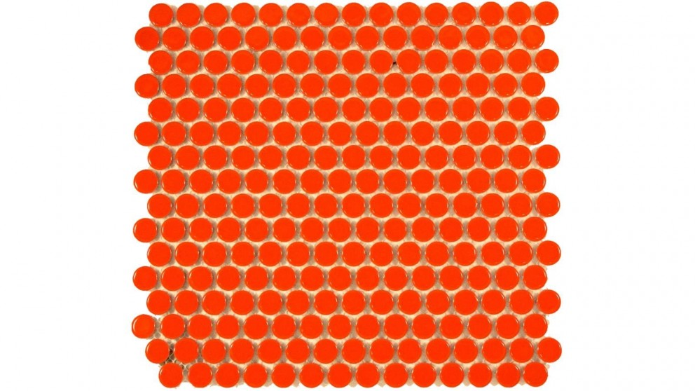 Glazed 19mm Penny Round Gloss Tile - Orange
