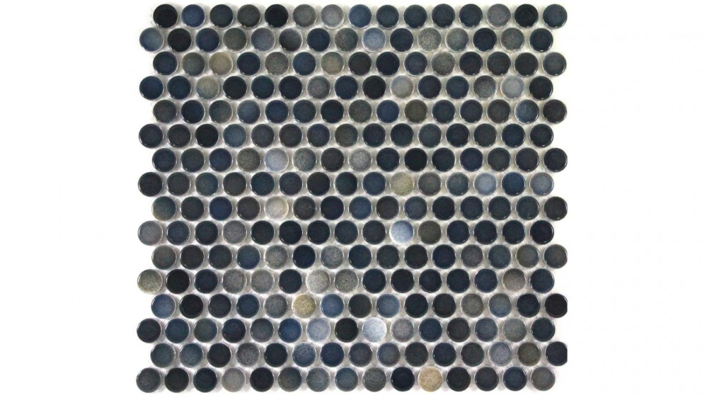 Glazed 19mm Penny Round Mixed Gloss Tile - Dark Grey