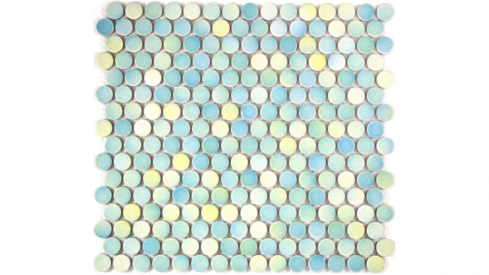 Glazed 19mm Penny Round Mixed Gloss Tile - Light Blue, Aqua and Yellow