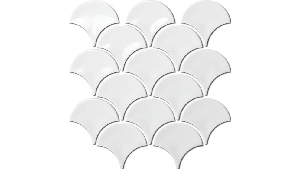 Fishscale 73mm Concave Gloss Tile - White