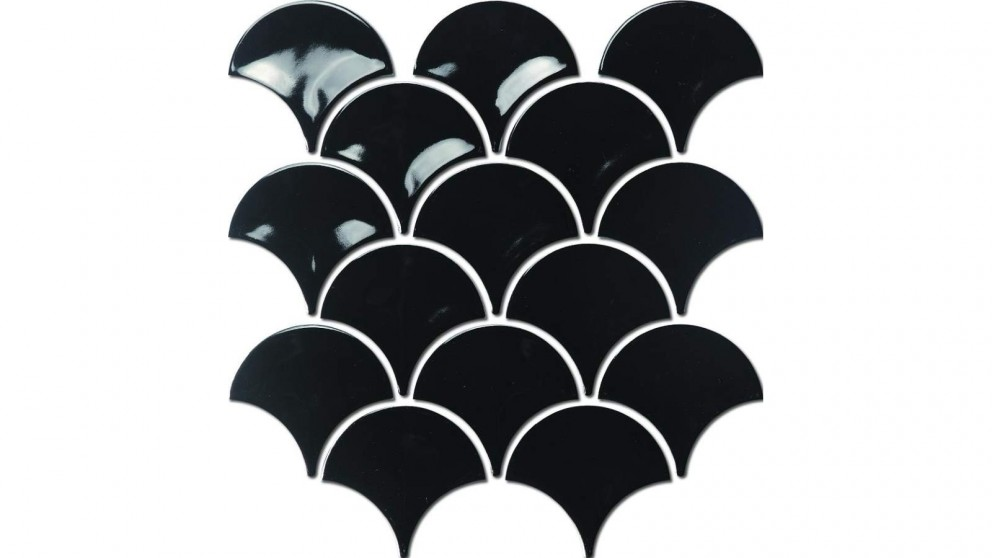 Fishscale 73mm Concave Gloss Tile - Black