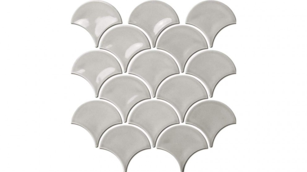 Fishscale 73mm Concave Gloss Tile - Ash Grey