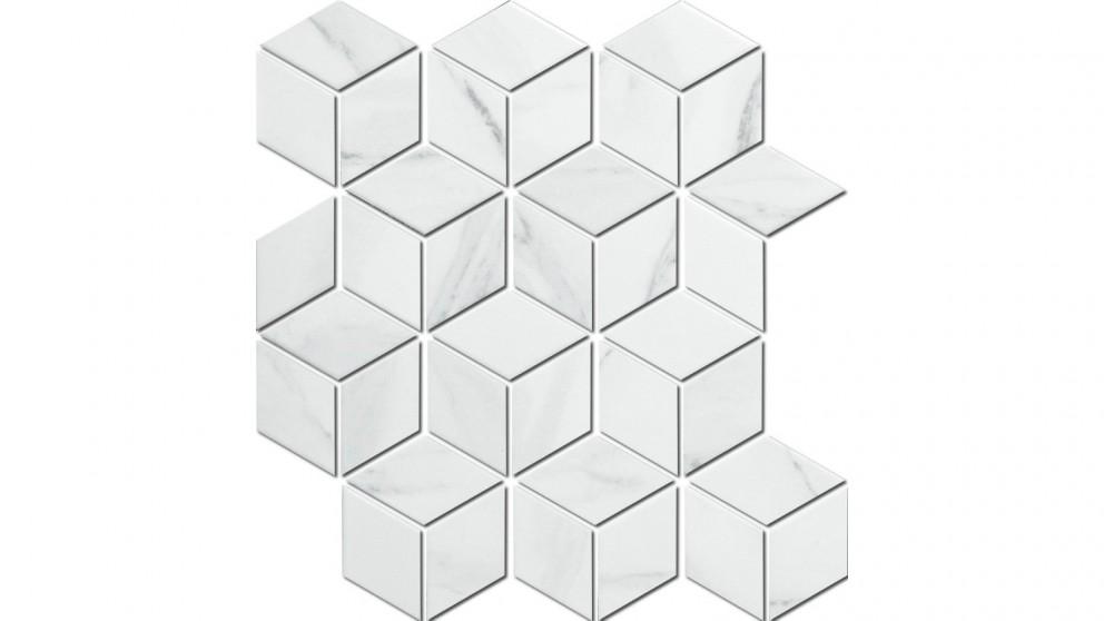 Carrara Cube 48x48mm Glazed Porcelain Matte Tile