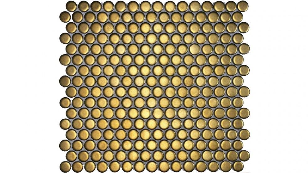 Glazed 19mm Penny Round Tile - Gold Matte