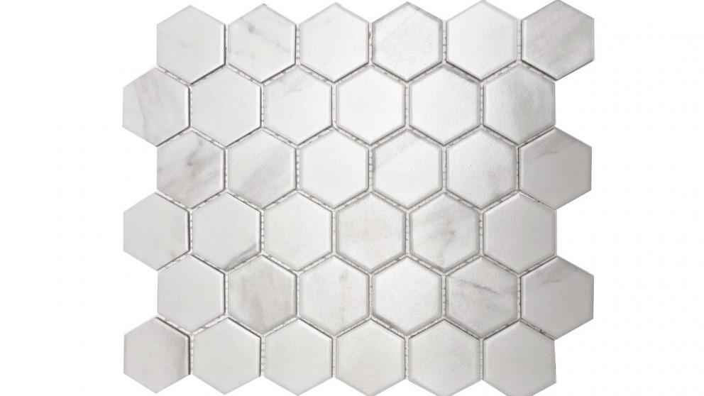 Carrara 51x59mm Hexagon Matte Glazed Porcelain Tile