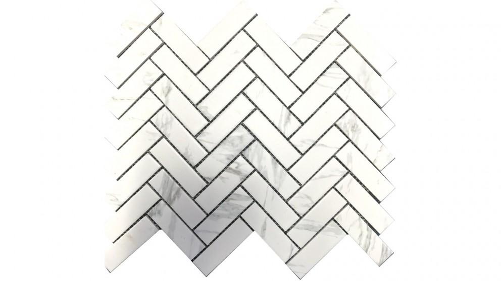 Carrara Look 22x72 Herringbone Matte Glazed Porcelain Tile